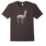 Cut of the Llama Chart T-Shirt For Knitters & Crocheters