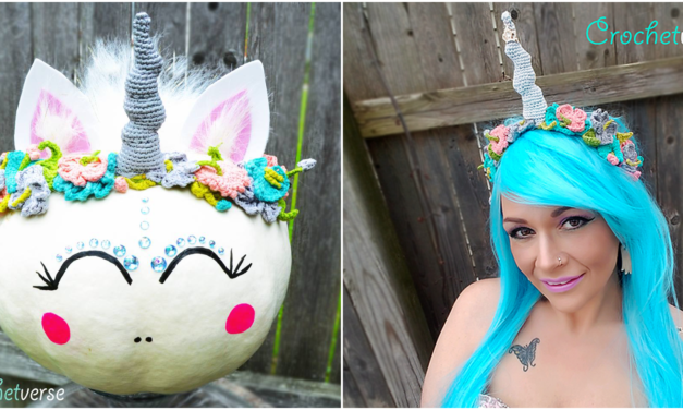 This Unicorn Pumpkin is a Glittering Masterpiece of Halloween Fun – Crochet the Flower Crown Headband!