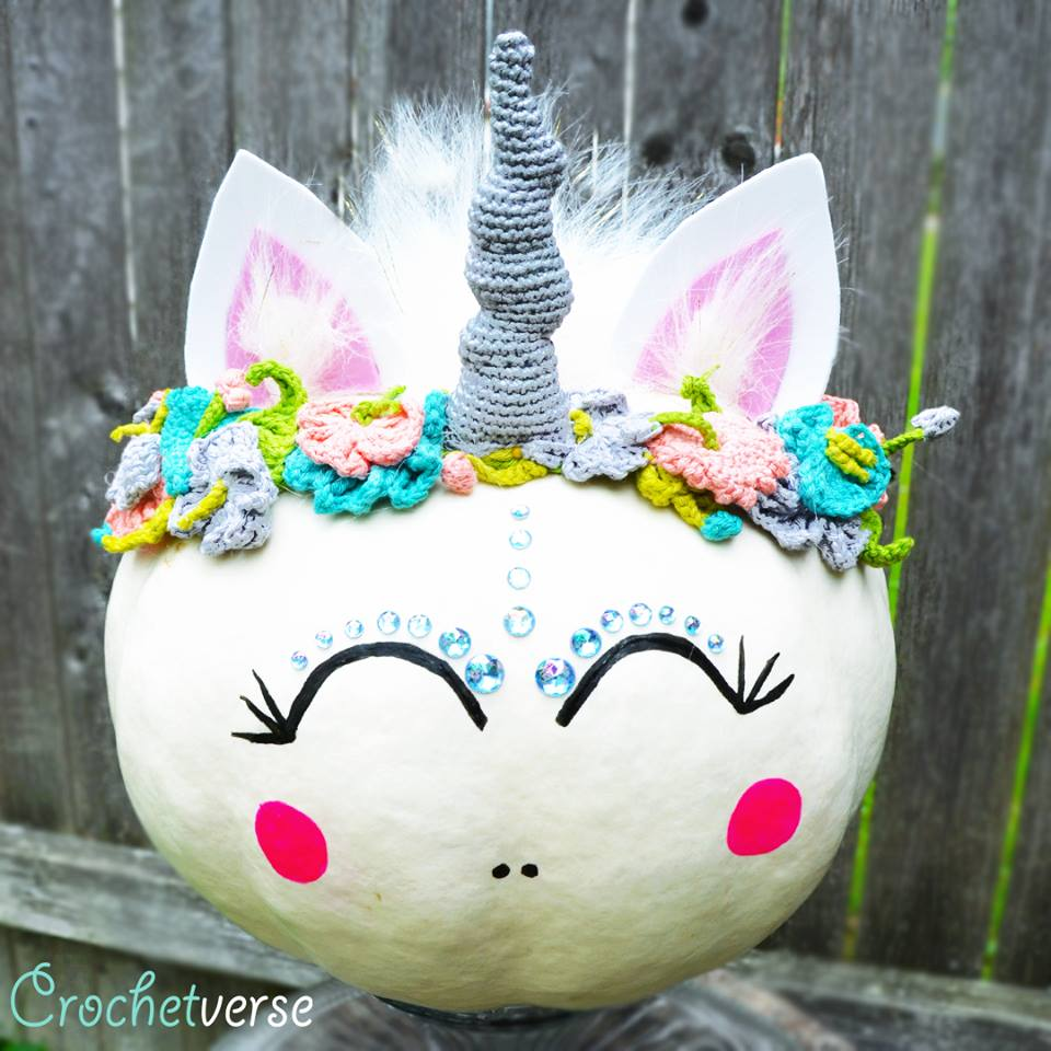 This Unicorn Pumpkin is a Glittering Masterpiece of Halloween Fun - Crochet the Flower Crown Headband!