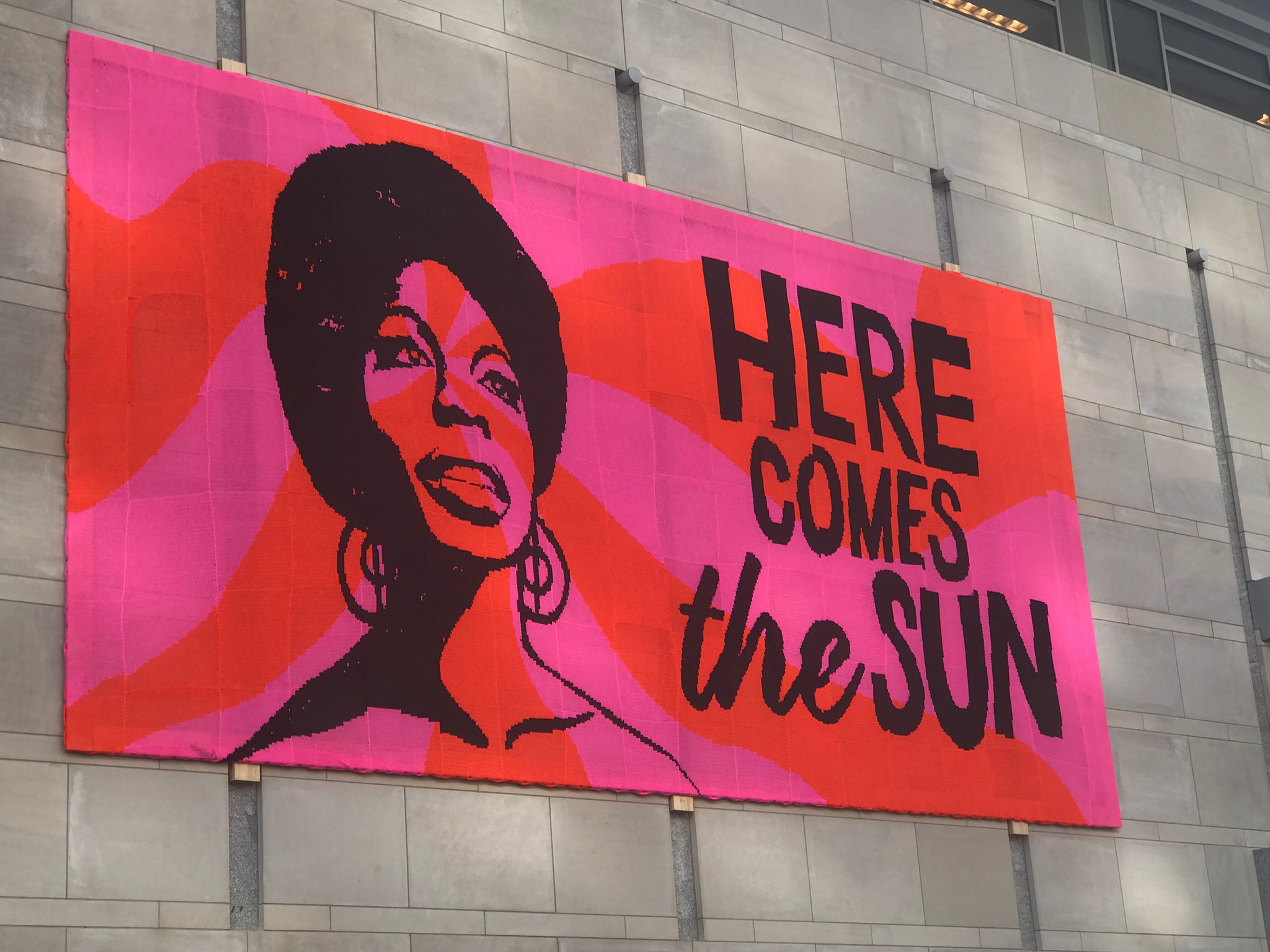 must see 40ft crocheted nina simone mural the third offering in olek s love across the usa. Black Bedroom Furniture Sets. Home Design Ideas