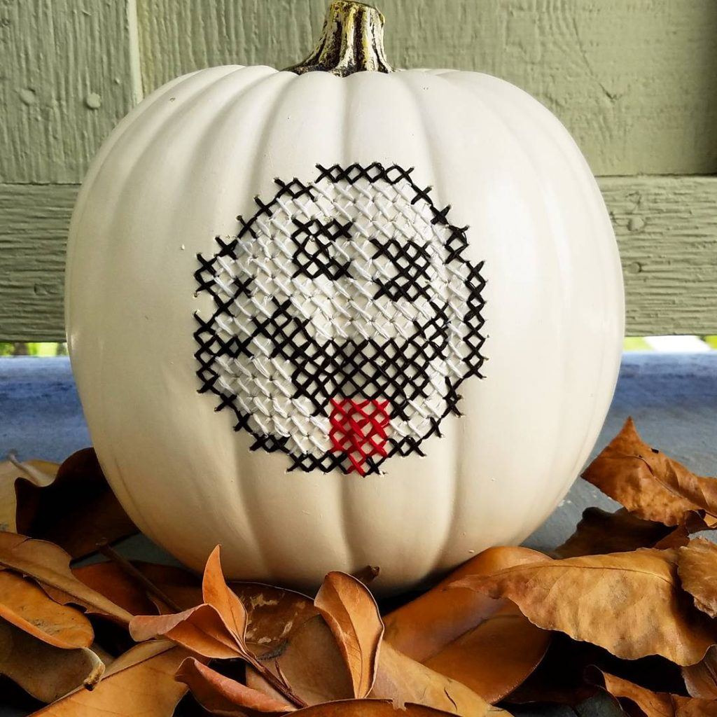 Cross-Stitch on a Pumpkin