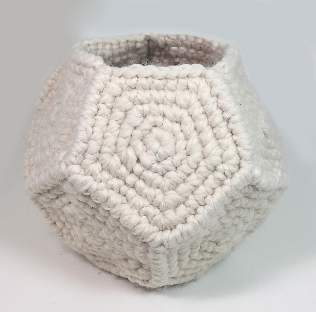 Crochet a Few Pretty Pentagons To Make This Spectacular Succulent Holder - Great Office Gift!