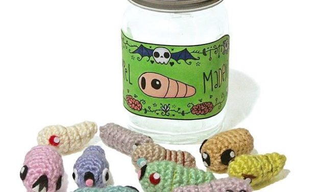 She Crocheted Maggot Amigurumi To Give To Her Nephew For His Birthday!