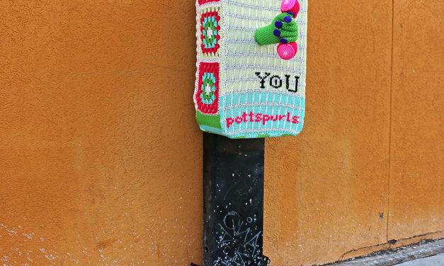 Phone Booth Yarn Bomb by PottsPurls, Inspired by Street Artist HUgo Gyrl