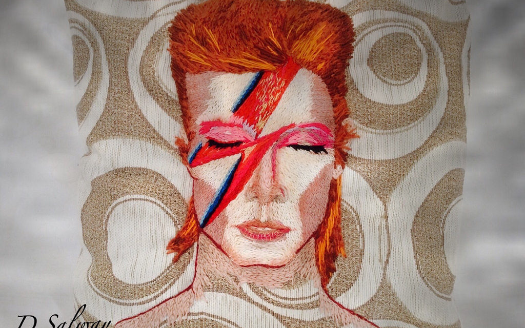 Aladdin Sane Pillow – A Tribute to David Bowie Crafted by the Knitting Witch