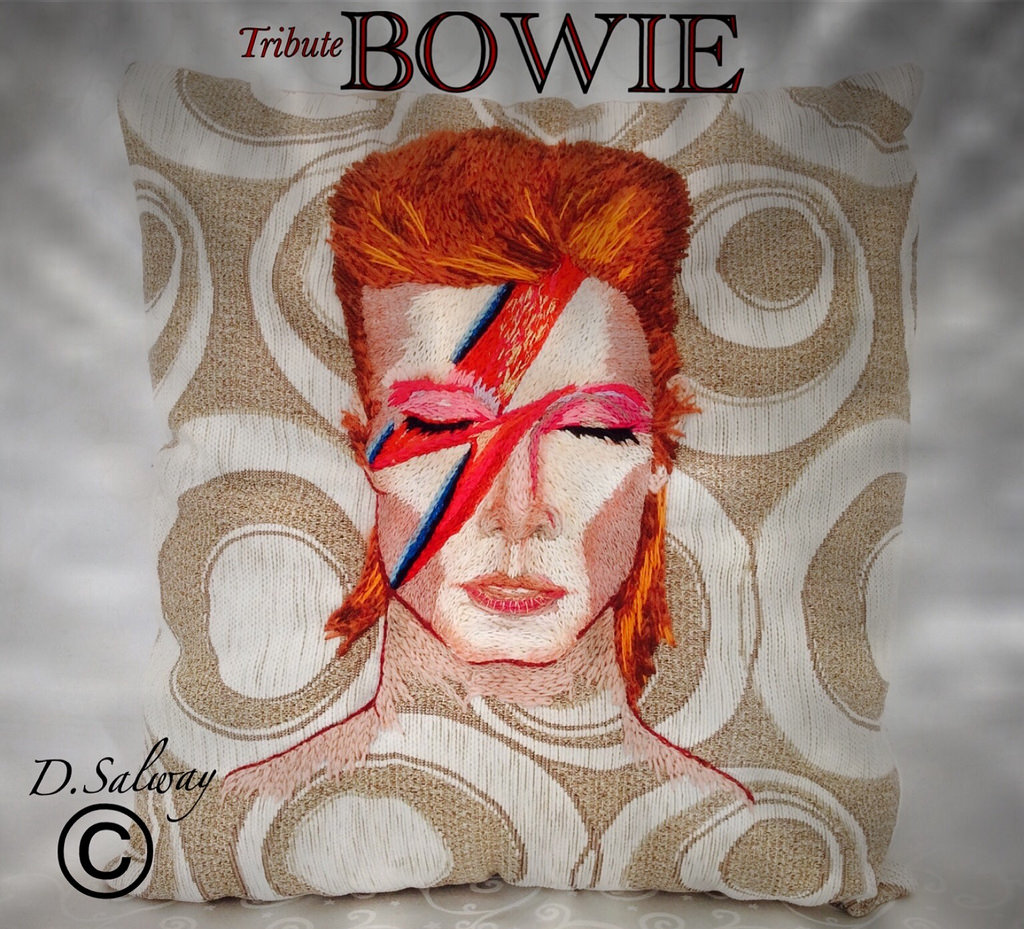 Aladdin Sane Pillow - A Tribute to David Bowie Crafted by the Knitting Witch