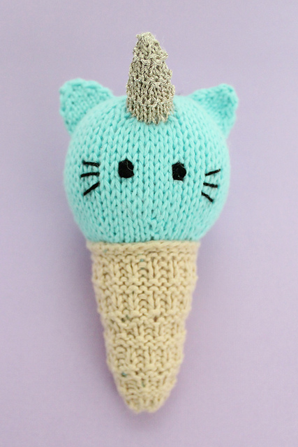 Knit a 'Unikitty' Ice Cream Cone - Because Everyone Loves Unicorns, Cats and Ice Cream!