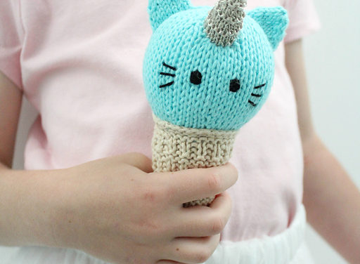 "Knit a ""Unikitty"" Ice Cream Cone – Because Everyone Loves Unicorns, Cats and Ice Cream!"
