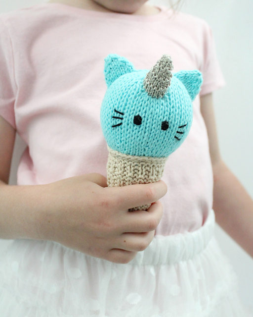Knit a 'Unikitty' Ice Cream Cone – Because Everyone Loves Unicorns, Cats and Ice Cream!