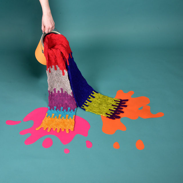 Super Cool Paint Drip Scarf Designed By Xandy Peters – It's Knit and There's a Pattern!