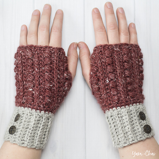 Crochet a Pair of Malia Wrist Warmers by Rebecca Langford of Little Monkeys Crochet - FREE Pattern!