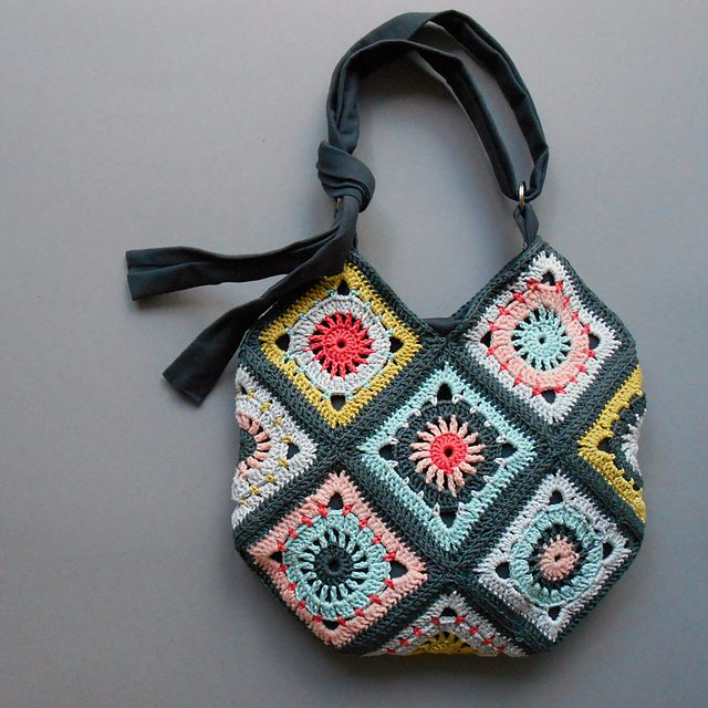 Beautiful Boho Granny Square Bag – Not Necessarily For The Beach!