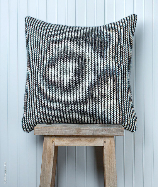 Gorgeous Graphic Striped Pillow Cover Knit in Stockinette Stitch - So Sophisticated!
