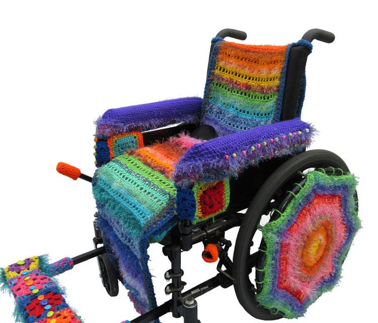 Beautifully Yarn Bombed Wheelchair By Penny Richards