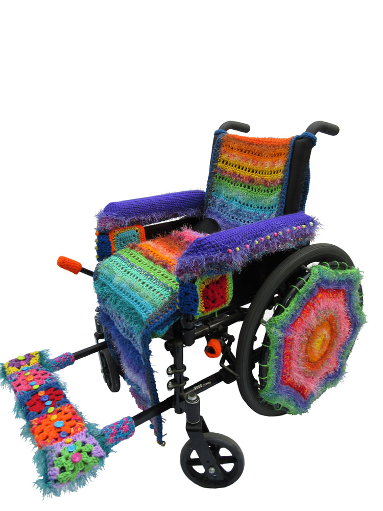 Beautifully Yarn Bombed Wheelchair By Penny Richards