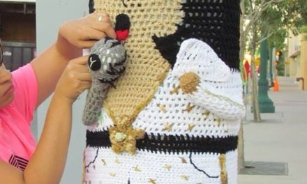 Elvis Presley Yarn Bomb Sighting … His Iconic White Jumpsuit Looks Great in Knit & Crochet