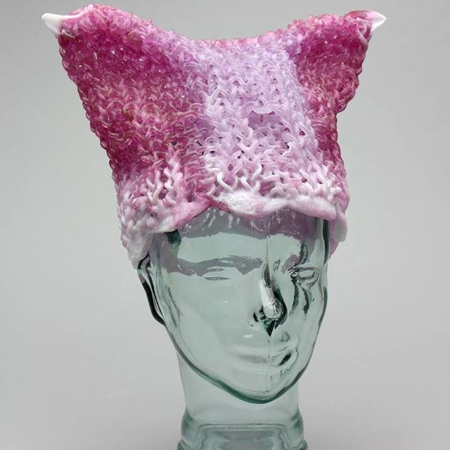 """You Can Leave Your Hat On, Babe"" – Knitted Glass Pussyhat Project Beanie by Carol Milne"