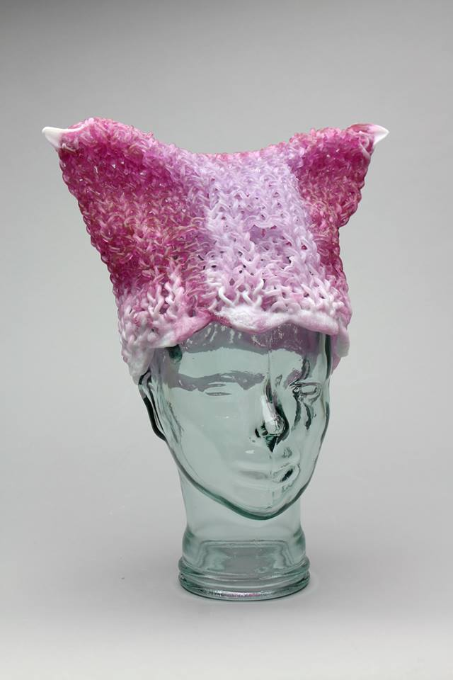 'You Can Leave Your Hat On, Babe' - Knitted Glass Pussyhat Project Beanie by Carol Milne
