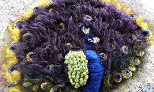 Beautiful Freeform Peacock Yarn Bomb