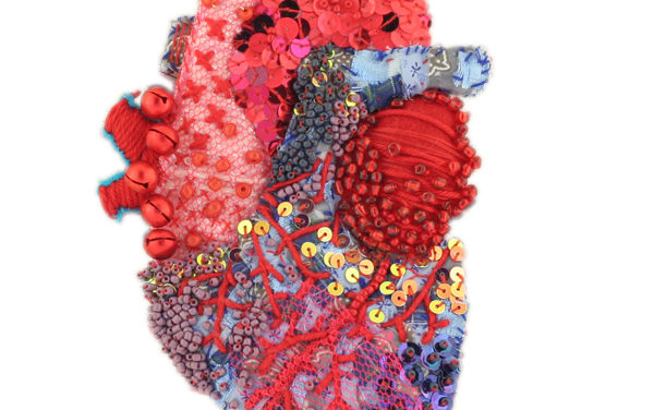 Embroidered and Beaded Heart By Hélène Manche