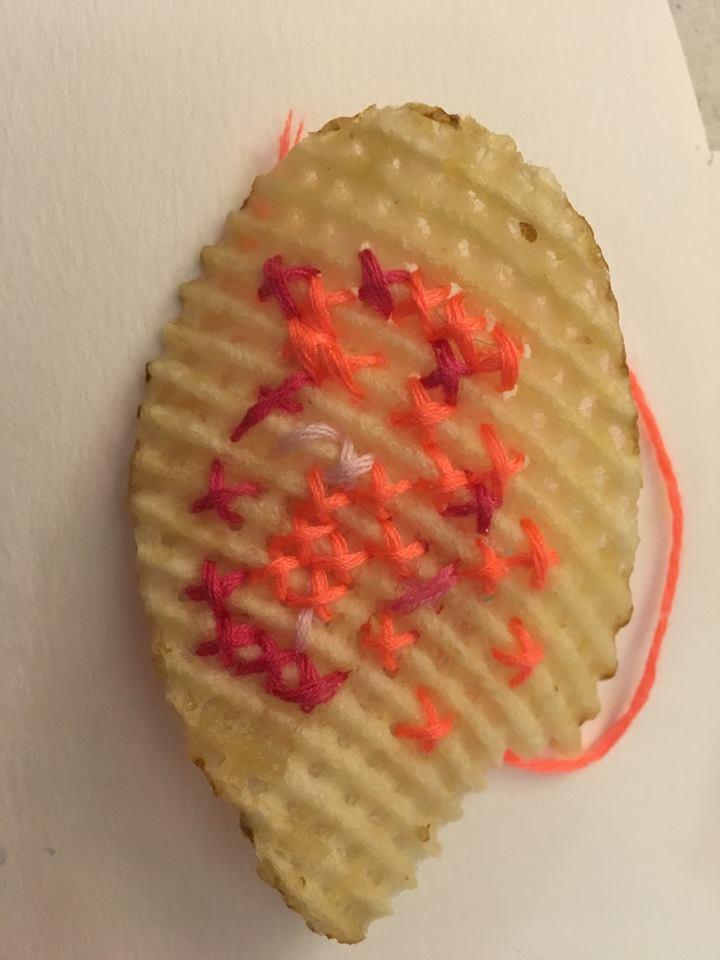 Potato-Chip Provocateur Practices the Art of Ephemeral Cross-Stitch