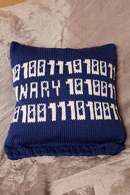 Knit a Binary Code Cushion & a Cafetiere Cosy To Go With It - So Brilliant!