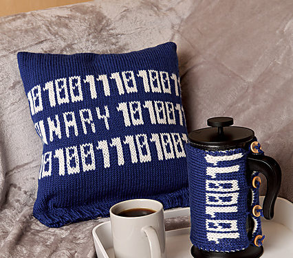 Knit a Binary Code Cushion & a Cafetiere Cosy To Go With It – So Brilliant!