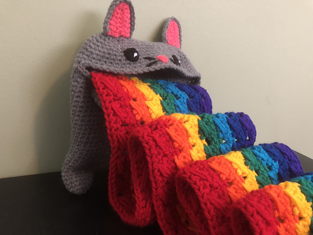 Crochet a Rainbow Barf Cat Plush Scarf … The Perfect Antidote to These Trying Times