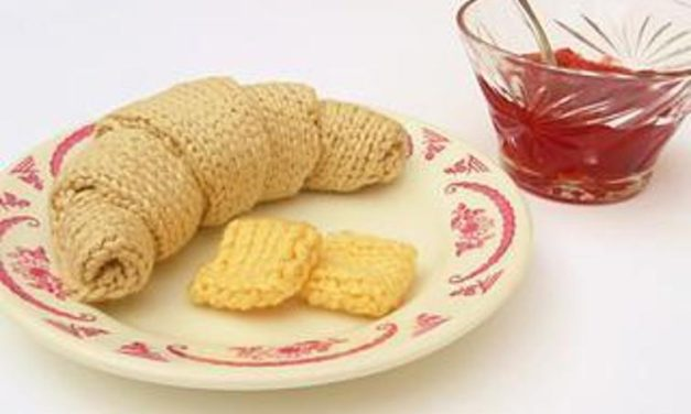 Knit a Croissant With a Pat of Butter For Croissant Day – 100% Fiber, No Calories!
