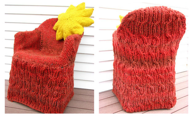 She Knit a Cabled Sweater For Her Chair!