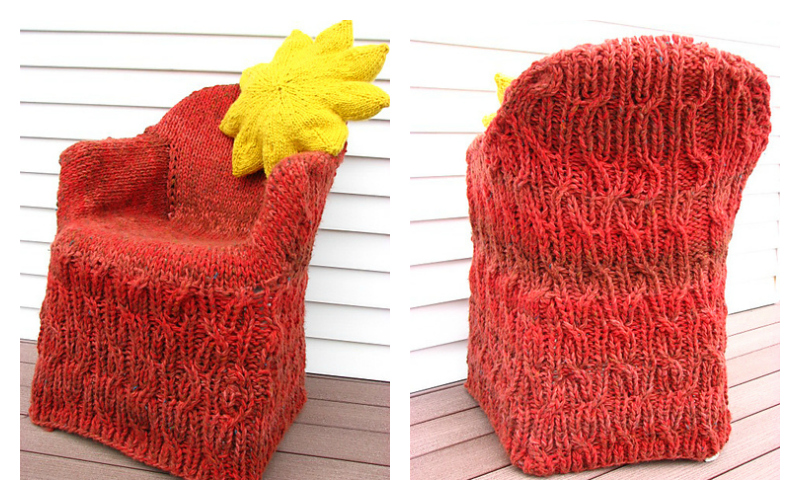 She Knit a Cabled Sweater For Her Chair! Check Out the FREE Pattern!