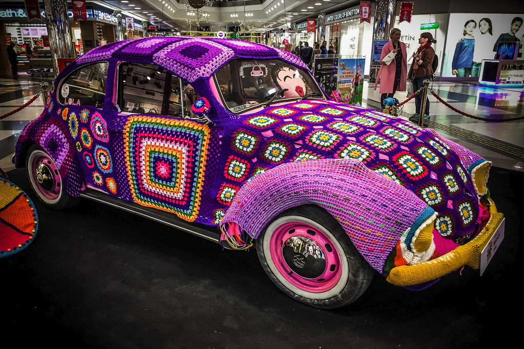 Yarn Bombed VW Bug