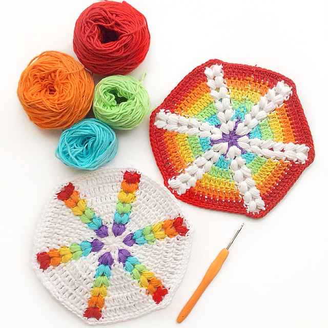 Beautiful Rainbow Puff Hexagon - It's Hard To Believe This Pattern Is FREE!