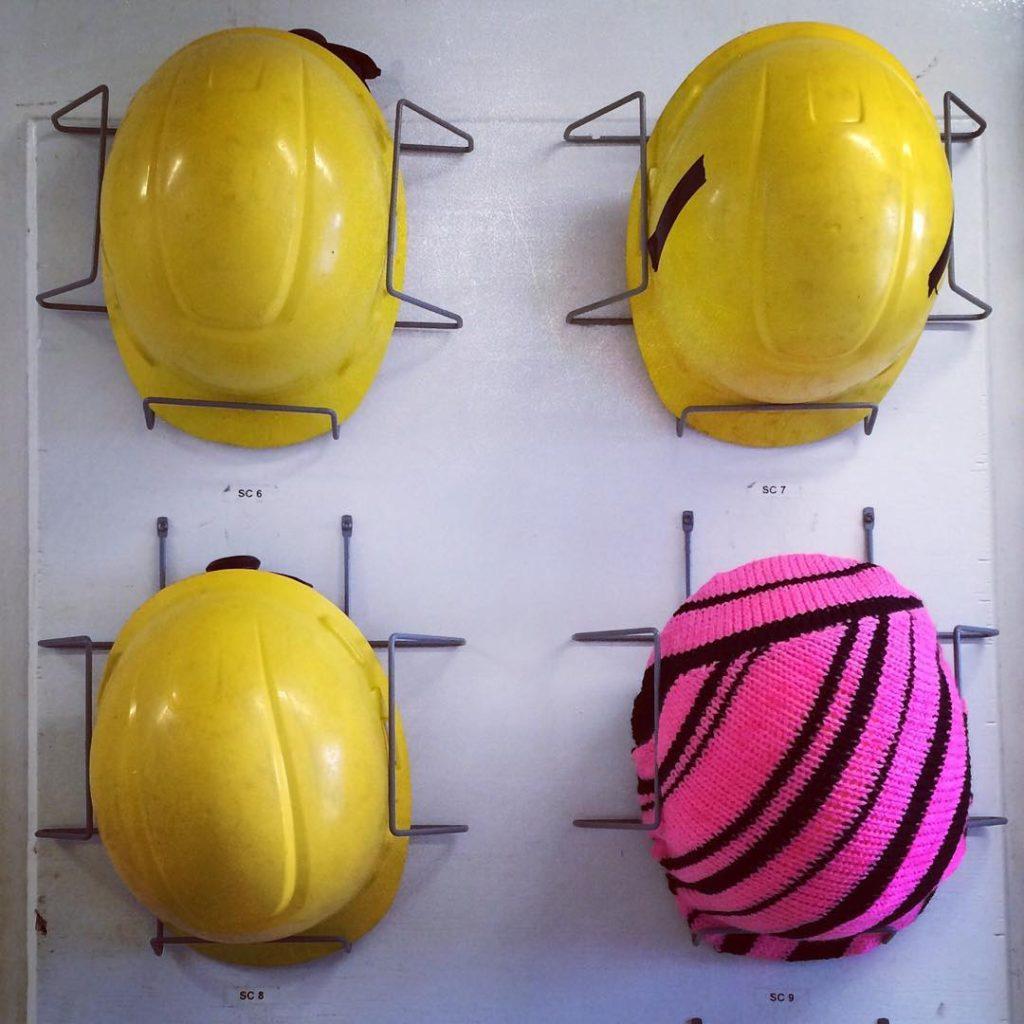 Artist At Sea Hardhats Get the Yarn Bomb Treatment - Pink Stripes!