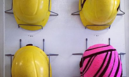 Artist At Sea Safety Hard Hats Get the Yarn Bomb Treatment – Pink Stripes!