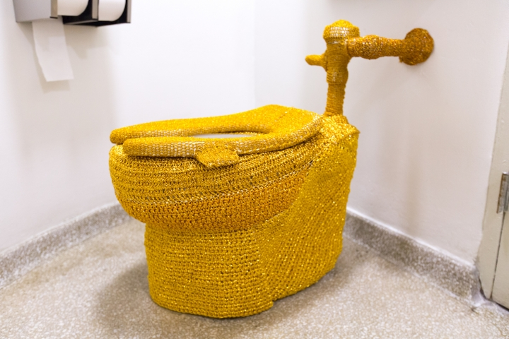 Did Olek Yarn Bomb a Guggenheim Museum Toilet in Golden Crochet?