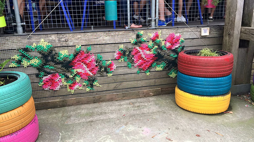 Have You Seen Raquel Rodrigo's Fabulous Floral Cross-Stitch Street Art?