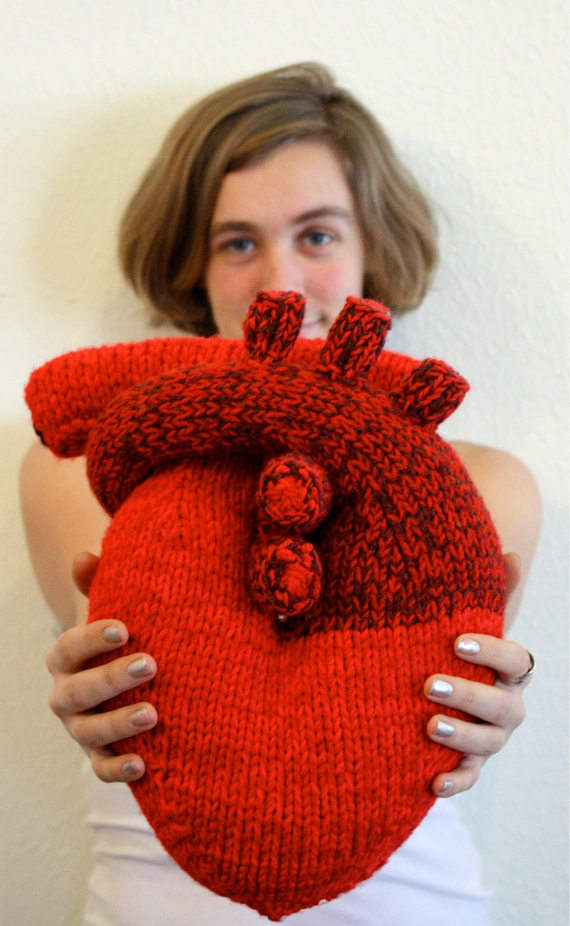 Realistic Knit Heart Pillow Pattern