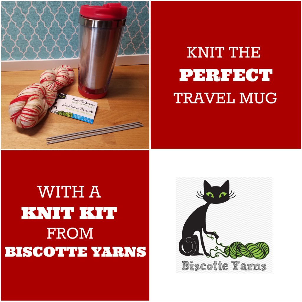 Knit the Perfect Travel Mug! Get the Hand-Dyed Yarn Kit From Biscotte Yarns