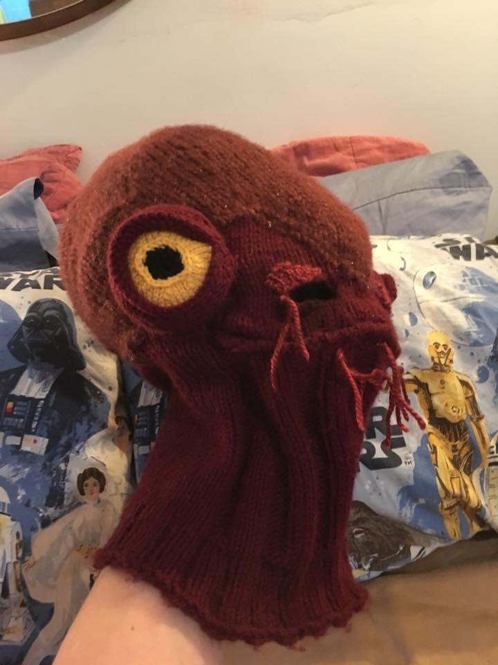 Katie Freeman's Knitted Admiral Ackbar Balaclava - 'It's a CAP!'
