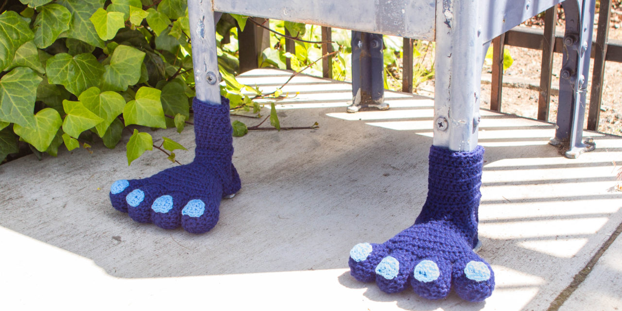 Designer Spotlight: Knits For Life, Crochet a Monster Feet Yarn Bomb!