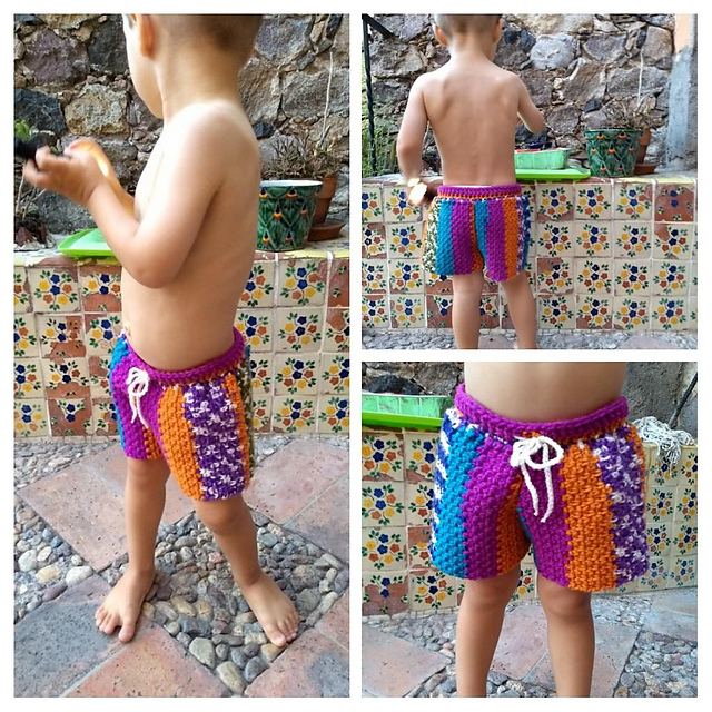 Crochet a Pair of Super-Cute & Colorful Toddlers Shorts, Free Pattern by Jess Hayes