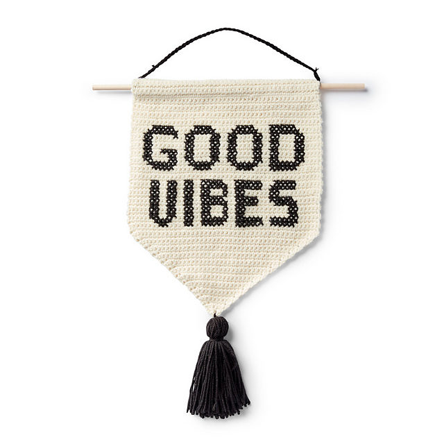 Crochet a Good Vibes Banner, The Pattern is FREE!