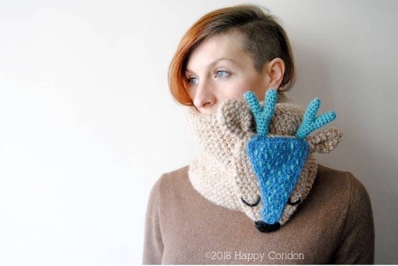 Crochet Deer Neck Warmer - Get the Pattern From HappyCoridon
