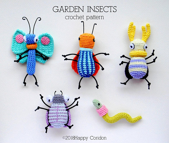 Crochet a Set of Colorful Garden Insects … Get the Patterns From HappyCoridon