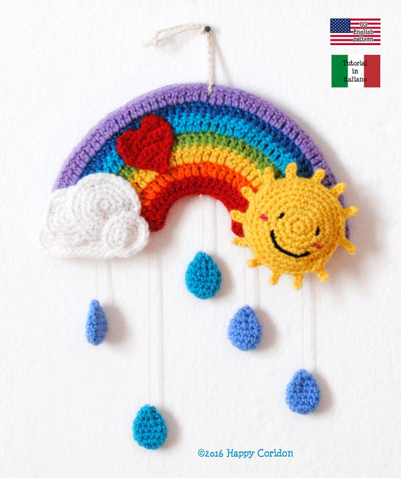 Crochet Rainbow Mobile - Get the Pattern From HappyCoridon
