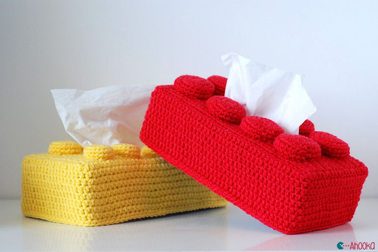 Crochet a Lego Tissue Cover, Get the FREE Pattern!