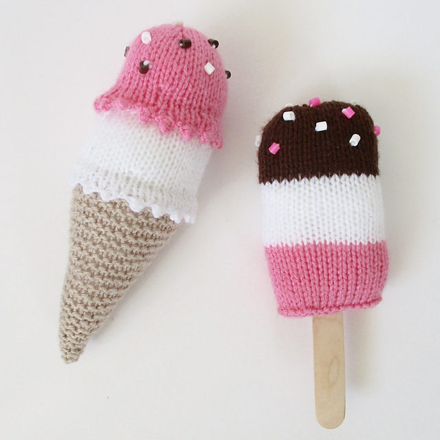 Knit a Duo of Colorful, Calorie-Free Ice Cream Treats … Free Pattern Too!