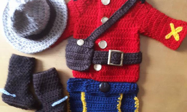 She Crocheted an RCMP Outfit For a Newborn, Hat & Boots Included!
