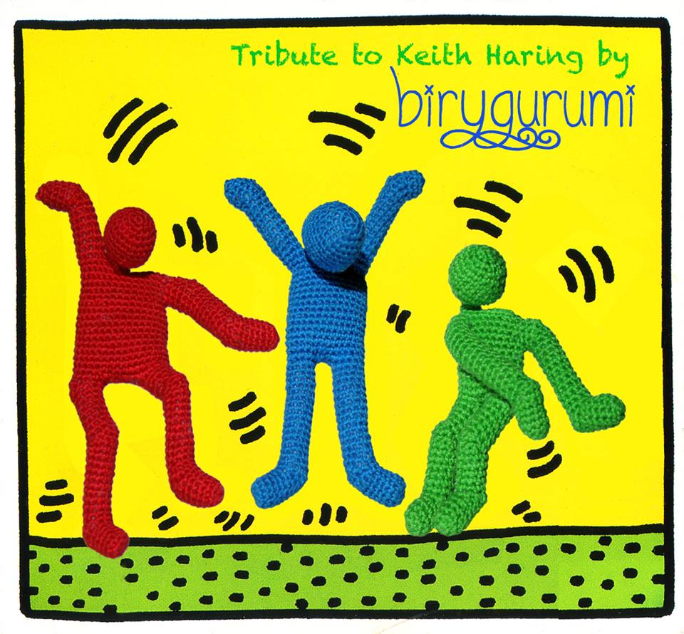 Check Out Birygurumi's Crochet Amigurumi Tribute To Keith Haring - So Colorful!